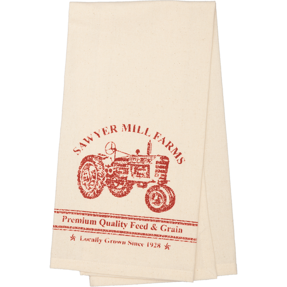 Sawyer Mill Red Tractor Unbleached Muslin Natural Tea Towel