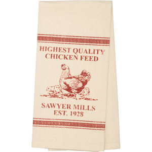Sawyer Mill Red Chicken Unbleached Muslin Natural Tea Towel