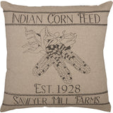 Sawyer Mill Charcoal Corn Feed  Pillow 18 x 18""