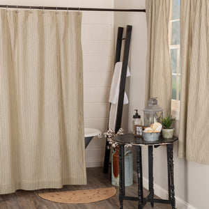 "VHC SAWYER MILL Charcoal Ticking Stripe Shower Curtain 72"" x 72"""