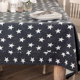 MULTI STAR LINED TABLE CLOTH (Choice of Navy or Red)