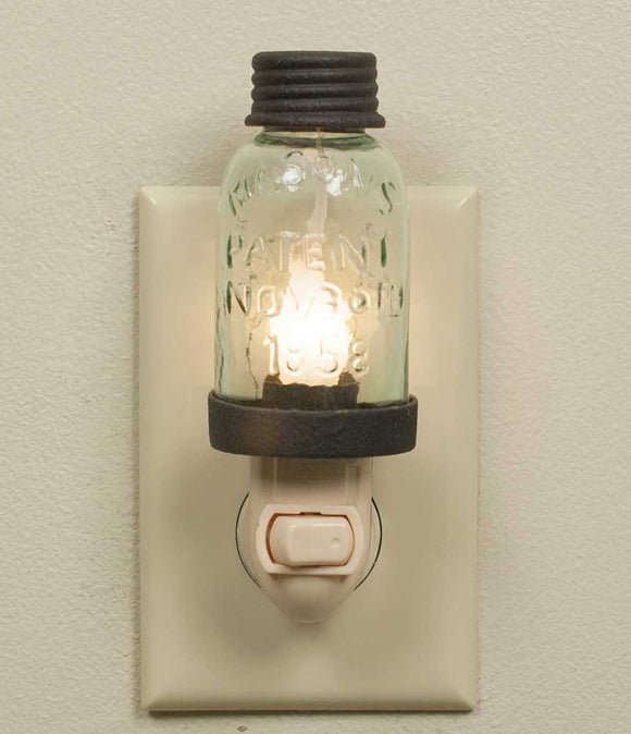 Mason Jar Night Light - Brown or Barn Roof - Fort Valley Bob's Simple Man Store