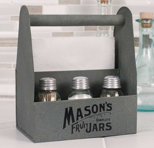 Mason Jar Crate Napkin Salt & Pepper Caddy