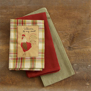 "TeaTowels / Hand Towels Set of 3 - ""Welcome to my Roost""  Cotton - Fort Valley Bob's Simple Man Store"