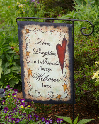Garden Flag - Primitive Vine Love, Laughter and Friends Welcome - Fort Valley Bob's Simple Man Store