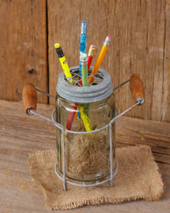 Mason Jar with Grid for Pencils or flowers and holder / handles - Fort Valley Bob's Simple Man Store