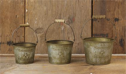 Small Country Living Buckets (Set of 3)