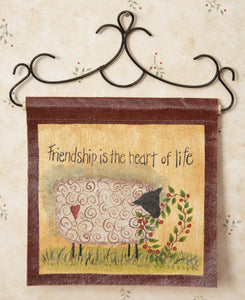 "(SALE) Painted Canvas - Friendship is the Heart of Life 6 1/2""x 6 1/2"""