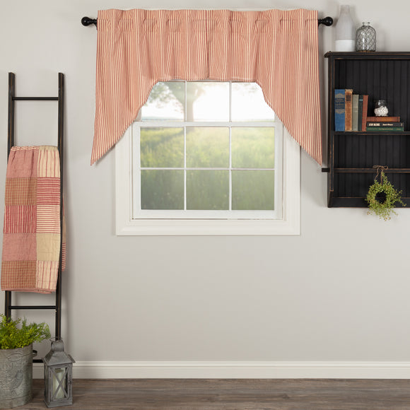 Sawyer Mill Red Ticking Valances or Swag (Choice)