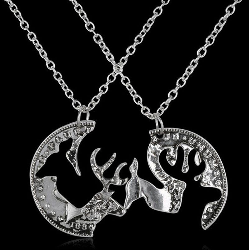 56a982ceff Necklace- Buck and Doe Antique Silver Color Coin Pendant Friendship Ne – Fort  Valley Bob's Simple Man Store
