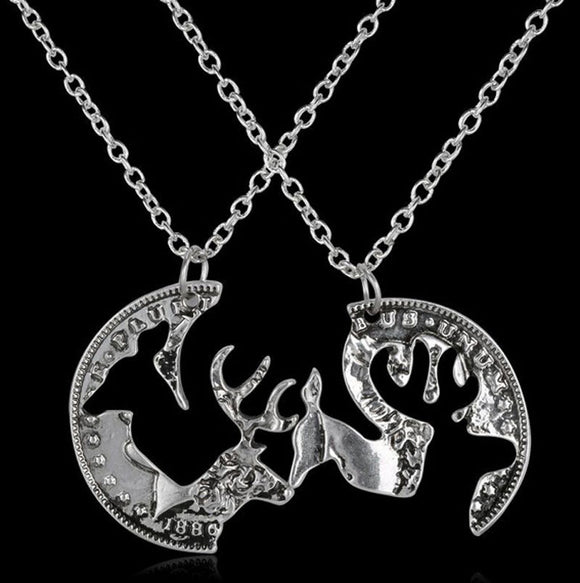 Necklace- Buck and Doe Antique Silver Color Coin Pendant Friendship Necklace  Set of 2 - Fort Valley Bob's Simple Man Store