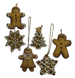 Mini Gingerbread Cookie ornaments - Set of 6