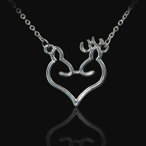 Hollow Heart Shape Buck & Doe Necklace - Fort Valley Bob's Simple Man Store