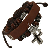 Cross and Beads Brown Leather Bracelet - Fort Valley Bob's Simple Man Store