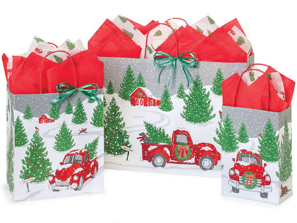 GIFT BAG W/ - RED TRUCK CHRISTMAS