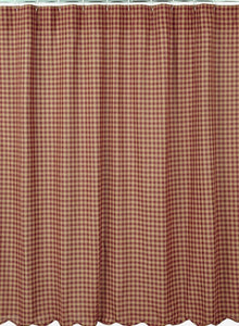 "VHC Shower Curtain Burgundy Check Scalloped 72"" x 72"""