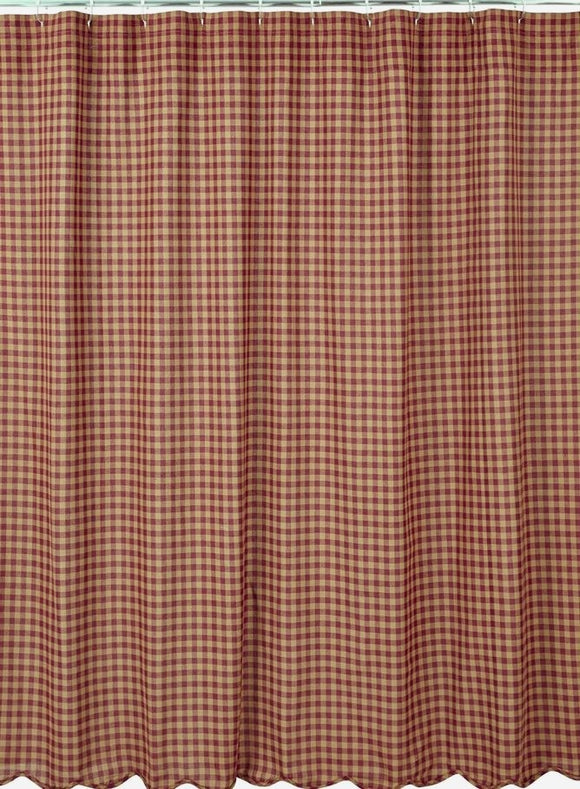 VHC Shower Curtain Burgundy Check Scalloped 72