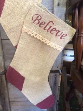 BURLAP CHRISTMAS STOCKING w/lace BELIEVE