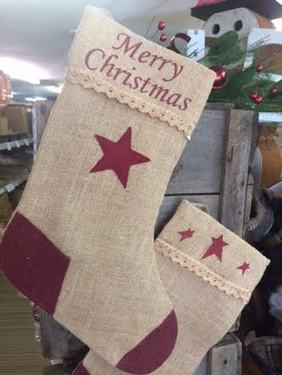 BURLAP/ LACE MERRY CHRISTMAS STOCKING