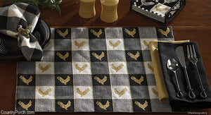 (SALE) Devon Black and White Rooster Placemats