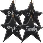 4/Set Star Word Ornaments - assorted