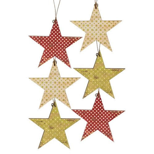 Vintage Star Ornaments Set 6