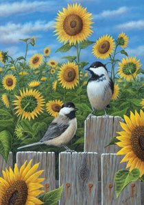 Garden Flag Chickadees & Sunflowers - Fort Valley Bob's Simple Man Store