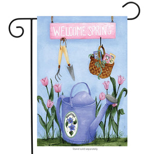 Welcome Spring Watering Can (Choice of Garden o House Flag)