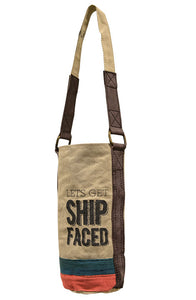 Let's Get Ship FACED Canvas Wine Bag