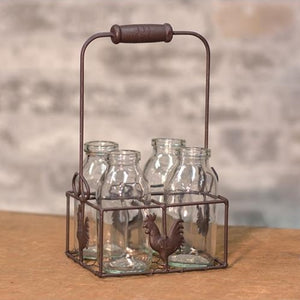 4 bottles w/Wire Rooster Carrier