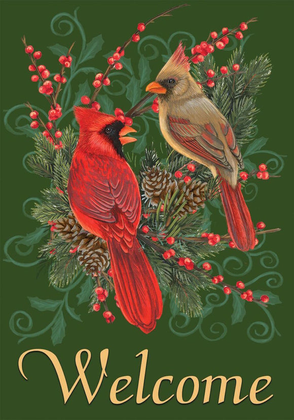 Cardinals and Pine House OR Garden Flag