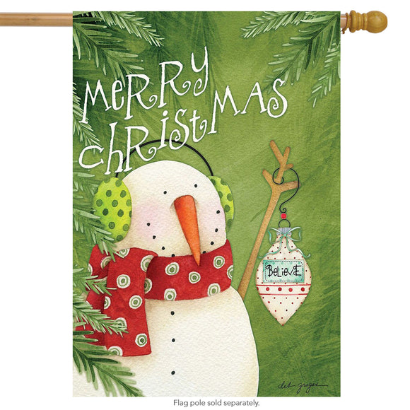 MERRY CHRISTMAS Snowman - House or Garden Flag