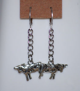 "2"" Cow Earrings by Finest Jewelry Creations LLC"