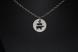 "Stainless Steel 20"" Necklace with Etched Cow, Pig and Chicken  by Finest Jewelry Creations LLC"