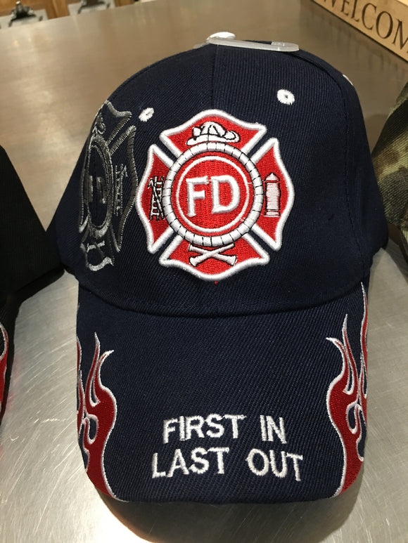 Fire Fighter Embroidered Cap (Choice of Black or Blue)