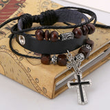Cross and Beads Black Leather Bracelet
