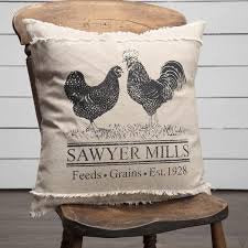 VHC SAWYER MILL Charcoal POULTRY Pillow 18 x 18
