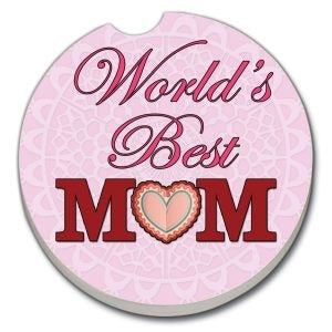 Car Coaster Worlds Best Mom- Pink