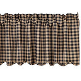 VHC BLACK CHECK SCALLOPED VALANCE 16 X 72""