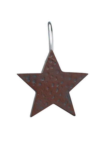 Shower Curtain Hooks set of 12 RED STAR