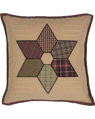 TEA STAR PATCHWORK PILLOW 18 X 18