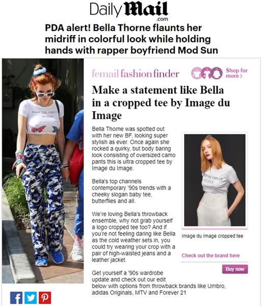 BELLA THORNE WEARING IMAGE DU IMAGE CUSTOM PRINTED CROPPED TOP ( KEEP THE CHIN UP QUEEN )