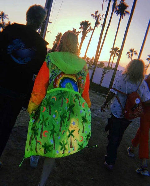 DANI THORNE WEARING IMAGE DU IMAGE CUSTOM HOODED COAT AT COACHELLA 2018 & IMAGE DU IMAGE CUSTOM SEQUINS MULTICOLOR ROBE