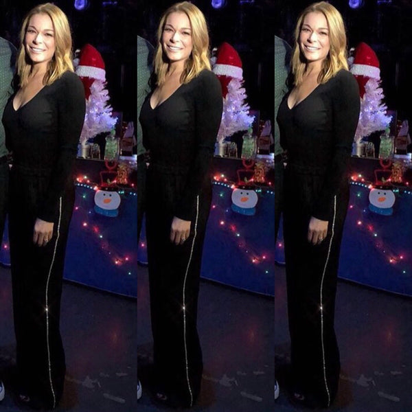 LeAnn Rimes WEARING IMAGE DU IMAGE BLACK SILK PANTS WITH CRYSTALS