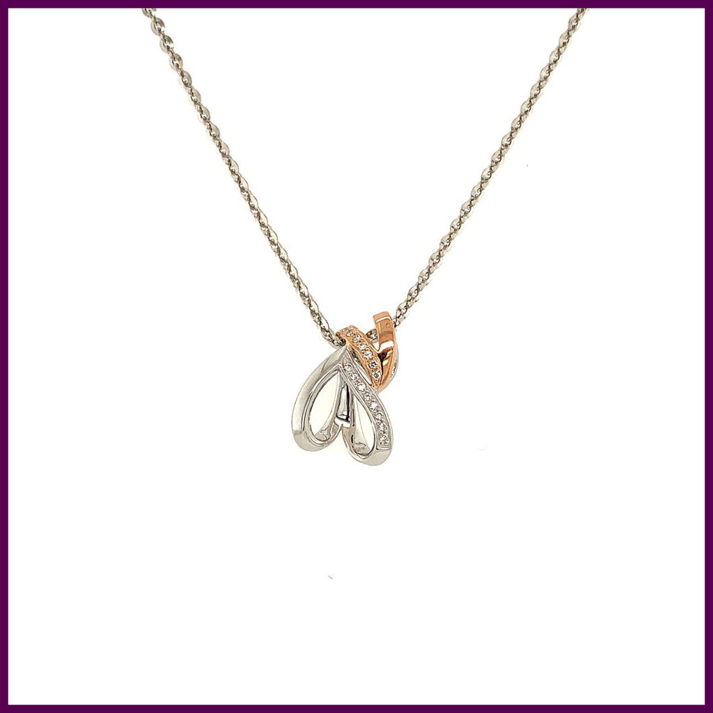 Pure Passion 192607 Two Tone Double Heart Pendant Necklace