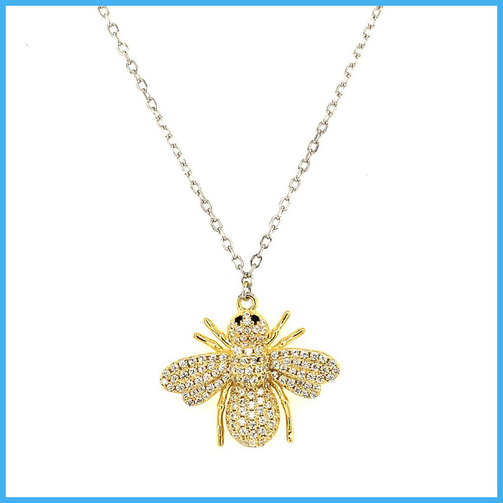 Stella Mia 193656 Yellow Gold Bee Pendant Silver Necklace
