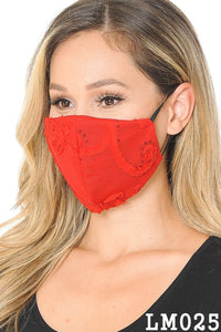 Lace Contrast 4x-Layered Filter Washable Face Mask