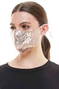 Face Mouth Mask Cover GOLD Bling Bling Glitter Sequins Mask