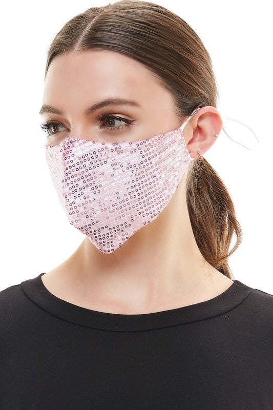 Face Mouth Mask Cover Pink Bling Bling Glitter Sequins Mask