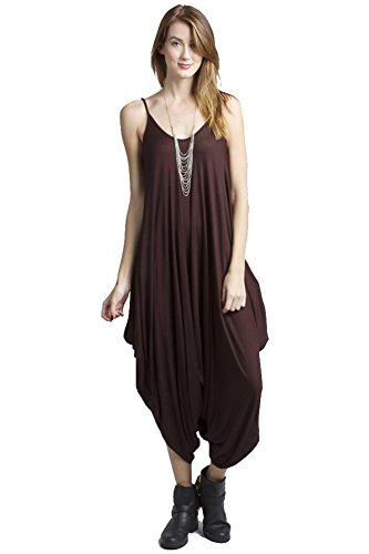Solid Women Harem Overall Summer Spagehtti Straps Jumpsuit Romper (Large, Brown)